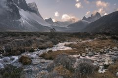 Pheriche valley with Taboche and cholatse peaks Stock Image
