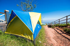 Phetchabun, Thailand - November 27, 2016 :tents camping on hill Stock Photo