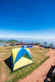 Phetchabun, Thailand - November 27, 2016 :tents camping on hill Royalty Free Stock Images