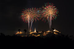 Phetchaburi省每年节日烟花 免版税库存照片