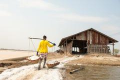 PHETCHABURI,泰国- 2月13 :运载从盐的泰国工作者盐种田2015年2月13日在Phetchaburi,泰国 它是a 库存照片