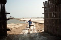 PHETCHABURI,泰国- 2月13 :运载从盐的泰国工作者盐种田2015年2月13日在Phetchaburi,泰国 它是a 免版税图库摄影