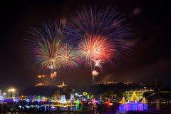 Phetchaburi, luty 16,2018: Fajerwerku festiwalu organi Obraz Royalty Free