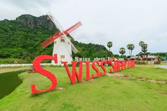 The Swiss Sheep Farm Where is the newest and biggest sheep farm And fun park style in Cha-Am. Stock Photography