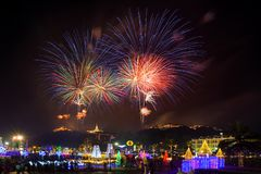 Phetchaburi,Thailand-February 16,2018: Fireworks festival organi Royalty Free Stock Image
