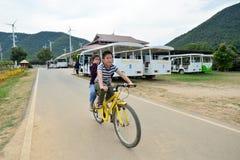 PHETCHABURI,THAILAND-: January 03, 2017: Untitled tourists ridin. G bicycle travel around project.  His Majesty King Bhumibol Adulyadej in Royal Initiative Royalty Free Stock Photography