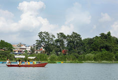 Phewa湖是第二大湖在尼泊尔 库存照片