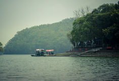 Phewa jezioro, Phewa Tal lub Fewa jezioro, jesteśmy słodkowodnym jeziorem w Nepal Obraz Stock