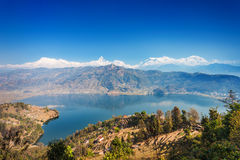 Phewa lake and Annapurna Stock Photos