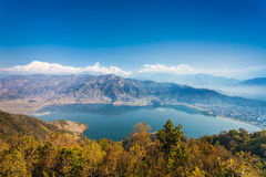 Phewa lake and Annapurna Stock Image