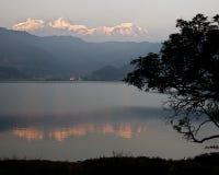 Phewa Lake. And the Annapurna Himalaya, Nepal Stock Photography