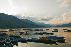 Phewa  lake in  Nepal Stock Photo