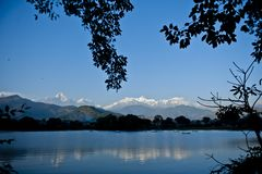 Phewa Lake. In Nepal with a beautiful view of Royalty Free Stock Photo