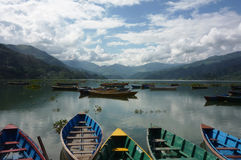 Phewa Lake Pokhara landscape. Phewa Lake Pokhara, Nepal. a pristine lake surrounded by breathtaking landscape Stock Image