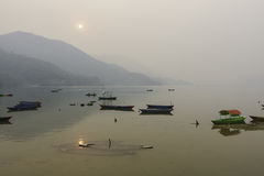 Phewa Lake in Pokhara, Nepal Stock Photo