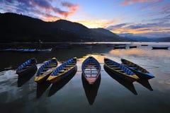 Phewa lake. Sunset at Phewa lake in Pohkhara, Nepal Stock Images