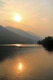 Phewa Lake during the sunset in Pokhara city, Nepal stock image