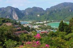 Phi Phi Island Amazing View Point desde arriba, Tailandia foto de archivo