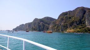 Phi Phi Island in Thailand. Phi Phi Island to the west of the `knee` in the Andaman Sea. Technically, Phi Phi is two islands: Ko Phi Phi Don, where Long Beach Stock Photo