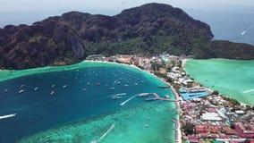 Phi Phi Don Tropical Island. Aerial view. Shot with a DJI Mavic fps29,97 4k stock video