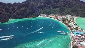 Phi Phi Don Tropical Island. Aerial view. Shot with a DJI Mavic fps29,97 4k stock footage