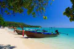 Phi Phi Island. Traditional longtail boat on the east of Tonsai Bay , Thailand Stock Photography