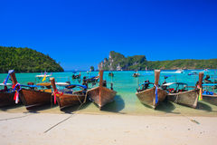 Phi Phi Island. Traditional longtail boat  in Loh Dalum Bay, Thailand Royalty Free Stock Photos