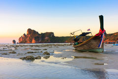 Phi Phi Island. Longtail boat on the beach during low tide Royalty Free Stock Photography