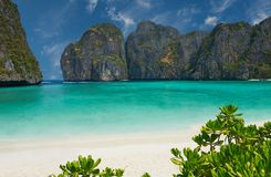 Phi-Phi island, Krabi Province, Thailand. Travel vacation background - Tropical island with resorts - Phi-Phi island, Krabi Province, Thailand Royalty Free Stock Photography