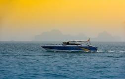 Fast Turistic Boats. Phi Phi Island, Thailand Stock Photo