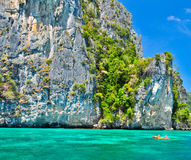 Phi-phi island, phu-ket,thailand and canoe Royalty Free Stock Photo