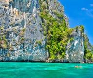 Phi-phi island, phu-ket,thailand and canoe royalty free stock photo