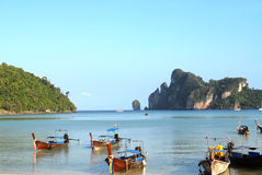 Phi Phi Island, Thailand. Longtail boats on a topical bay Stock Images
