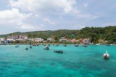 PHI PHI ISLAND, THAILAND - CIRCA SEPTEMBER 2015: Resort hotels, beach and boats at Phi Phi Island,  Thailand Stock Photos