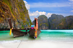 Traditional Thai boats in the Maya Bay of Phi-Phi island Stock Image