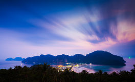Phi phi island at twlight, Krabi, Thailand Stock Photography