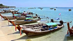 Phi phi islands seascape with boats. Thailand. stock footage