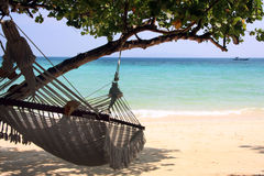 Hammock along the sea Royalty Free Stock Images