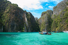 Phi-Phi laguna. Travelling on boat to phi-phi island Royalty Free Stock Image