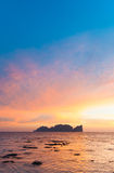 Phi-Phi Lee island in colorful romantic sunset. Stock Images