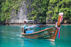 PHI PHI LEE ISLAND, THAILAND - CIRCA SEPTEMBER 2015: Boat sails in the Pileh Lagoon, Phi Phi Lee island, Andaman Sea,  Thailand Stock Images