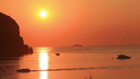 Phi Phi Sunset Boats Rock stock video footage