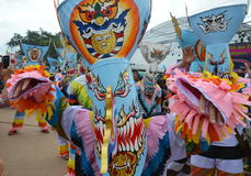 Phi Ta Khon is a type of masked procession celebrated in Thailand Royalty Free Stock Photography