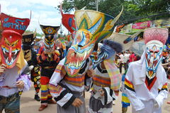 Phi Ta Khon is a type of masked procession celebrated in Thailand Stock Photography