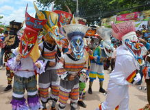 Phi Ta Khon is a type of masked procession celebrated in Thailand Stock Photos