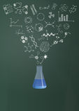 Phial science chalkboard Royalty Free Stock Image