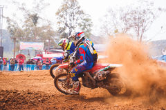 Phichit,Thailand,December 27,2015:Extreme Sport Motorcycle,The motocross competition,motocross rider cornering and free fee to see. Beauty shot of Extreme Sport Royalty Free Stock Image