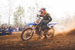 Phichit,Thailand,December 27,2015:Extreme Sport Motorcycle,The motocross competition,motocross rider cornering and free fee to see stock images
