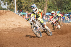 Phichit,Thailand,December 27,2015:Extreme Sport Motorcycle,The motocross competition,motocross rider cornering and free fee to see Stock Photos