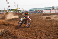 Phichit,Thailand,December 27,2015:Extreme Sport Motorcycle,The motocross competition,motocross rider cornering and free fee to see Royalty Free Stock Photography